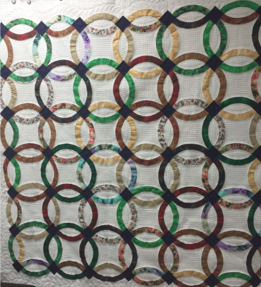 Modern Double Wedding Ring Quilt Over The Top Quilting