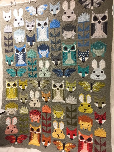 The Woodlands Creatures Quilt With Woodgrain Quilting