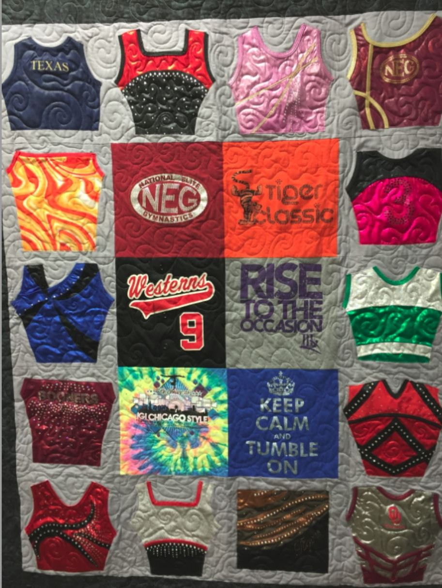 Quilt Made From Gymnastic Outfits And T Shirts Img 6868